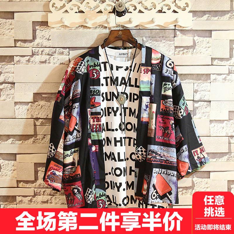 日系外套七分袖和服五分袖衬衫男开衫情侣款宽松薄款中袖衬衣道袍