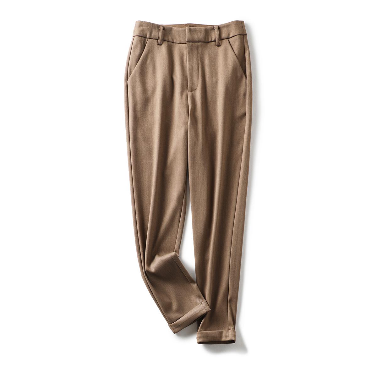 通勤BI备单品 高垂抗皱显腿直~卷边裤口简约纯色休闲裤烟管裤秋新