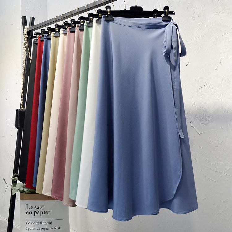 韩版系带高腰雪纺一片式半身裙女夏中长款ins超火的a字沙滩裹裙子