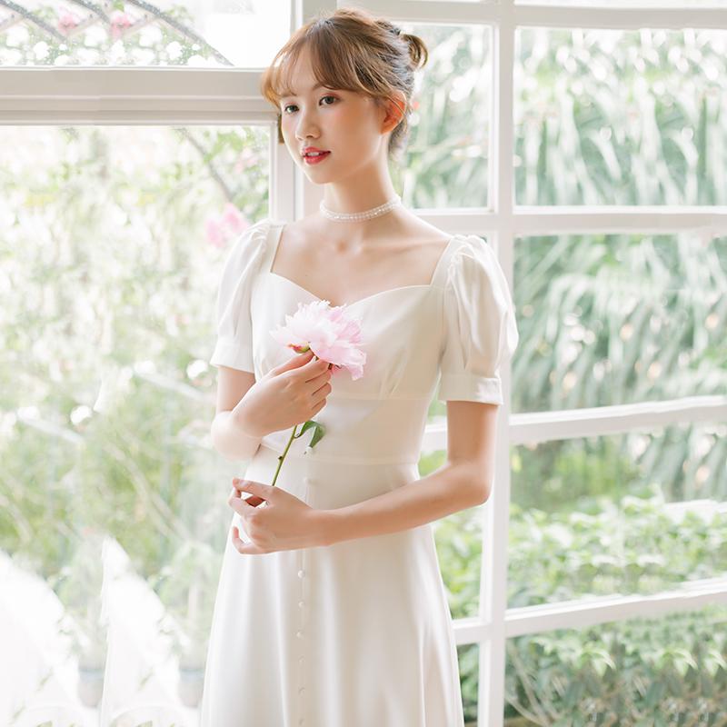 [拜托鹿先生]法式复古奶油裙简约日常短袖显瘦旅拍轻婚纱新娘礼服