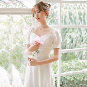【鹿先生原创】夏季法式复古简约订婚领证登记轻婚纱小礼服裙
