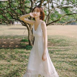 起风了 2020年夏超仙女chic温柔ins风初恋吊带连衣裙旅拍轻婚纱