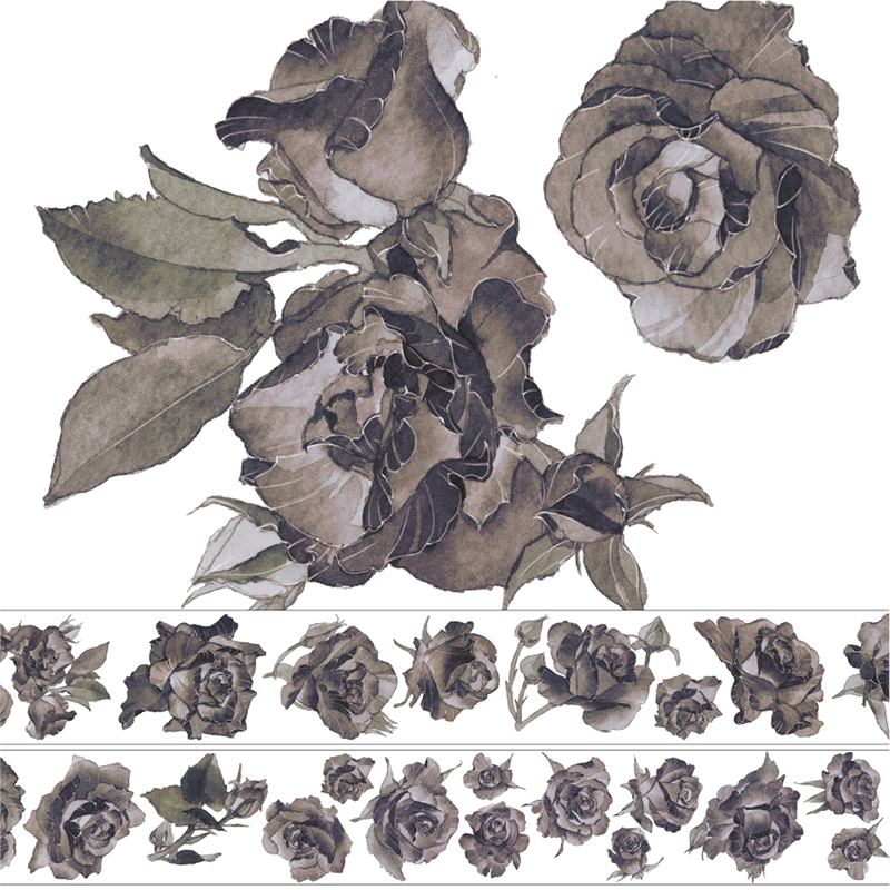 新七天PET亮面手帐手账装饰胶带贴纸花卉造景胶带纸整卷 黑玫瑰