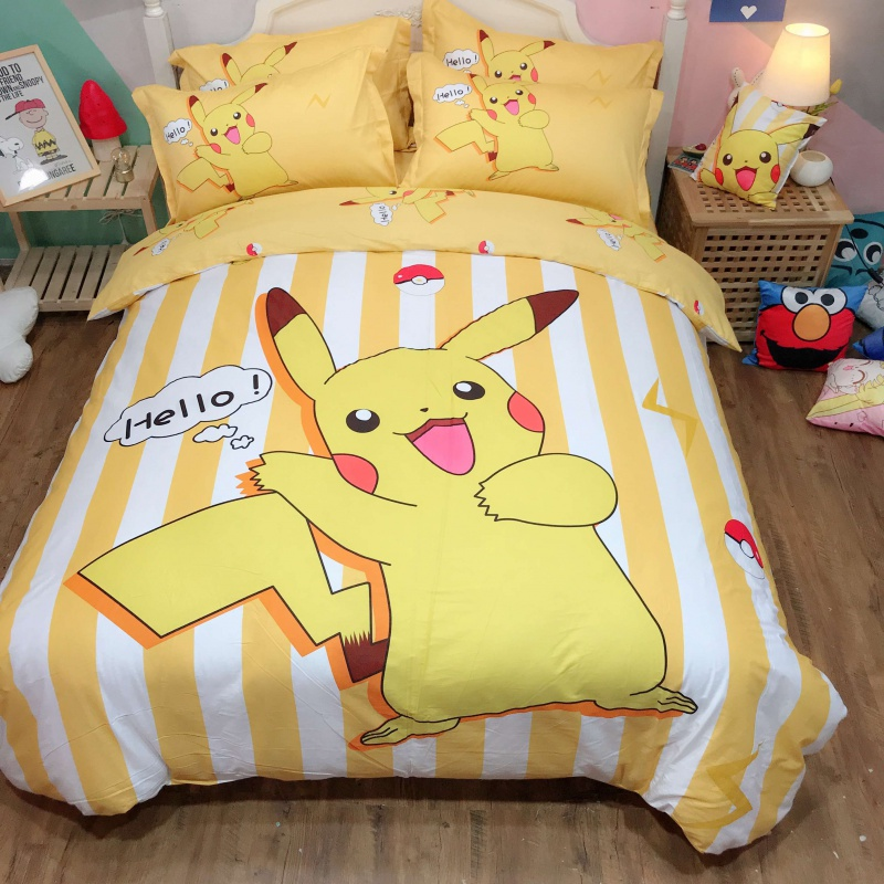 Four piece cotton cotton cartoon lovely childrens quilt cover bedspread bed sheet bedclothes three piece set boys and girls