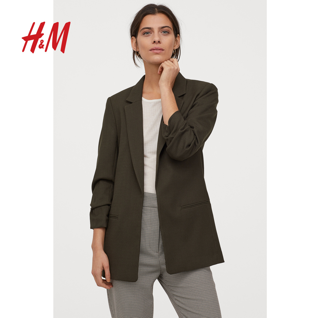 HM women's spring 2020 new suit coat women's spring and autumn seven sleeve straight tube suit women's top 0839332