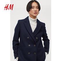 HM 女装小西装2020冬装新款短款气质修身开衩羊毛外套女 0941614