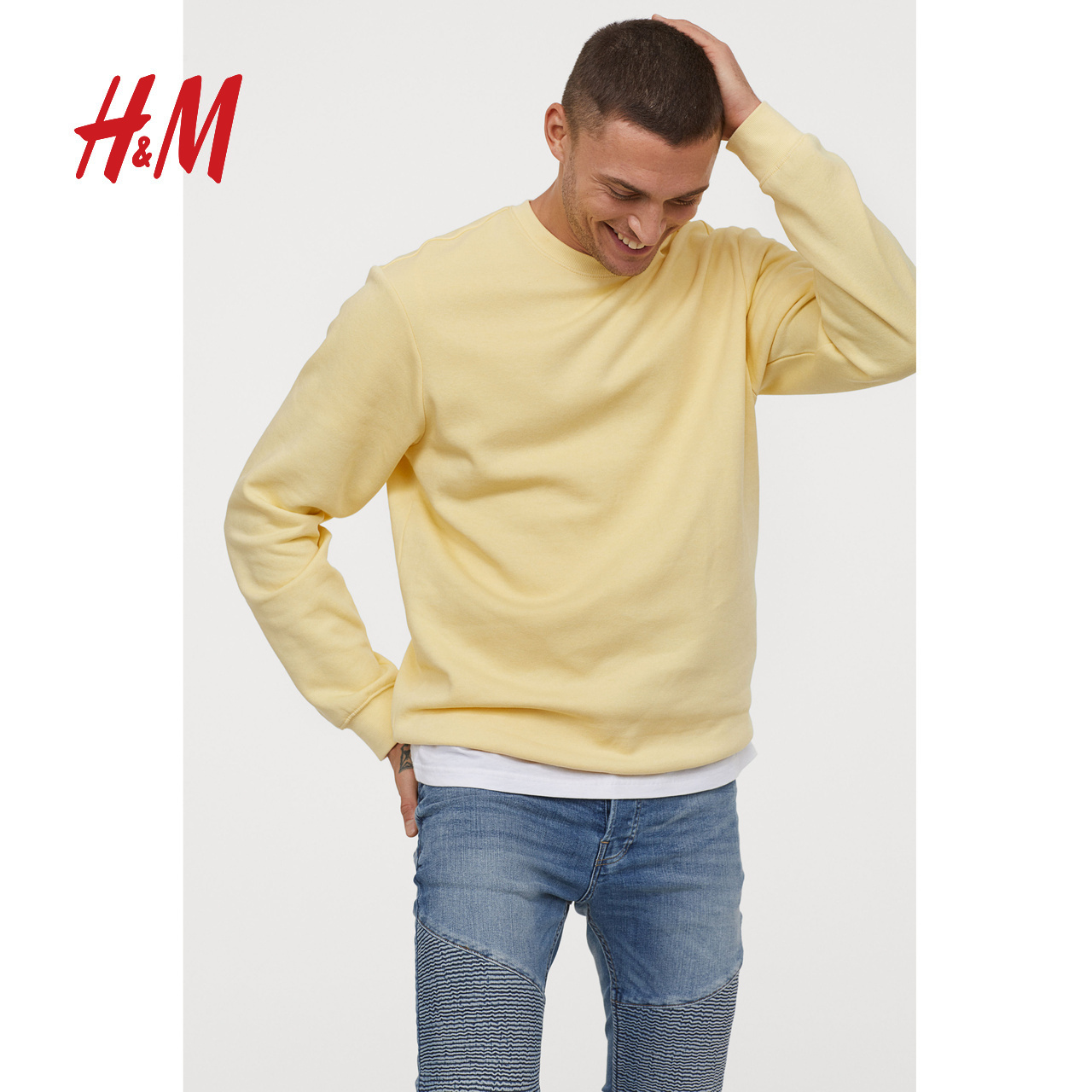 Fashion Week same HM divided men's round neck solid color loose sweater men's fashion 0685813
