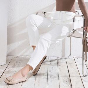非橙纯白色休闲女裤2021新款全棉水洗五袋裤高腰时尚直筒裤女长裤