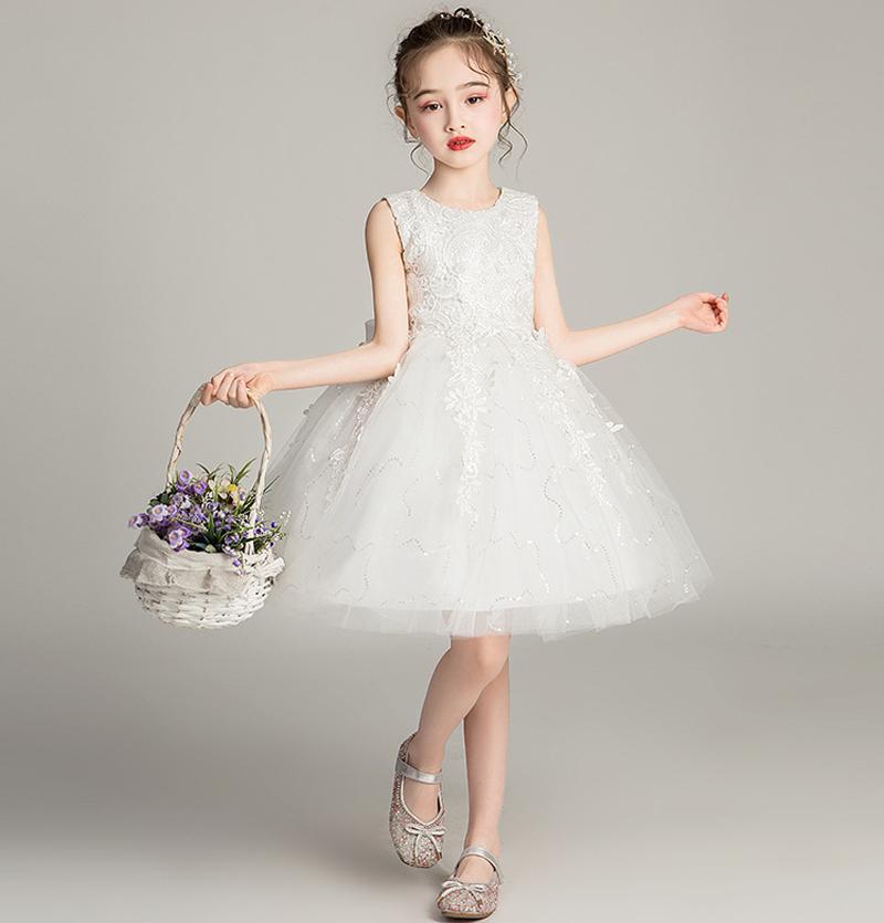 女童公主裙白色礼服蓬蓬纱连衣裙小女孩超洋气夏装儿童生日演出服券后69.00元