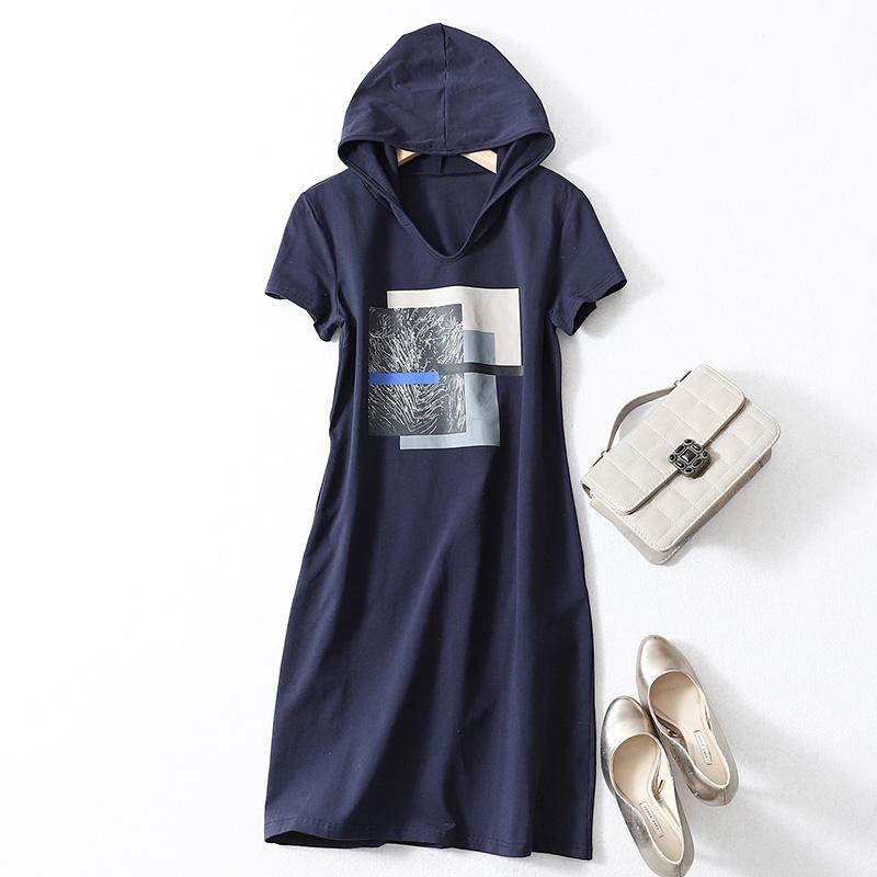 韩版青春减龄高品质氨棉透气长款连帽卫衣修身显瘦短袖T恤连衣裙图片