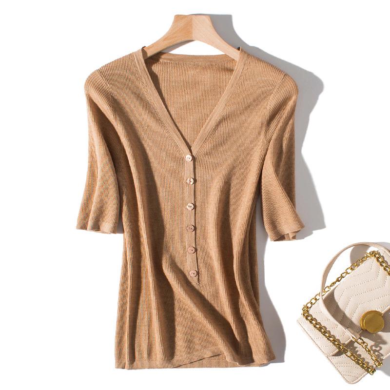 夏季可穿 春夏100%超细羊毛单排扣V领毛衣薄修身中袖打底针织衫女