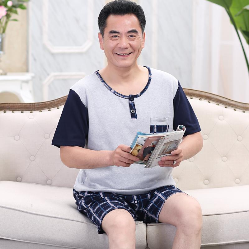 爸爸睡衣夏季中年大码纯棉中老年人男士老人夏天薄款父亲节男套装