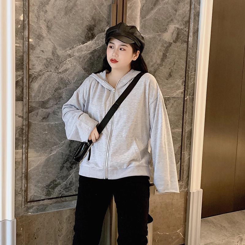 适合胖妹妹穿的2019新品大码女装韩版潮流宽松秋款拉链卫衣外套潮