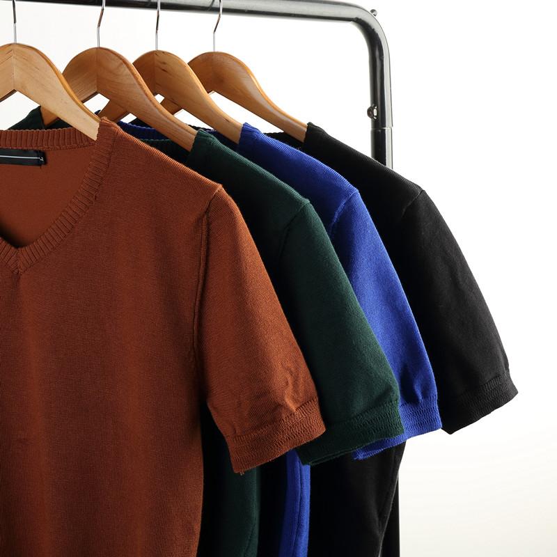 t恤男短袖V领纯色薄款冰丝上衣夏季针织衫韩版潮流男士半袖线衣服58.00元包邮