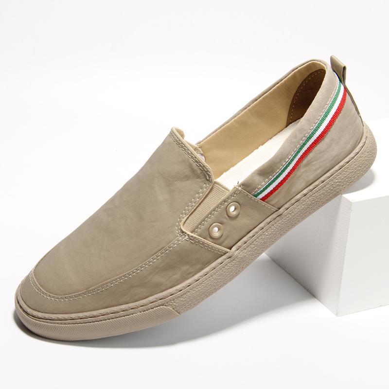 帆布鞋男潮流百搭低帮春季新款布鞋一脚蹬休闲鞋舒适青年软底男鞋