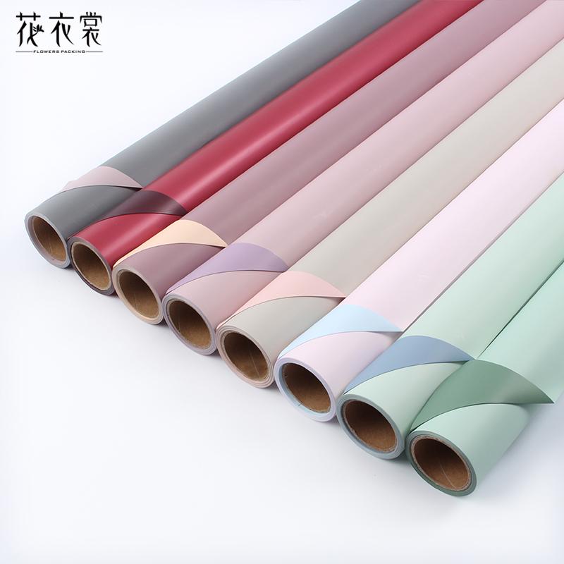韩式双面双色欧雅纸卷筒鲜花包装纸玫瑰花包花纸花店花束包装材料