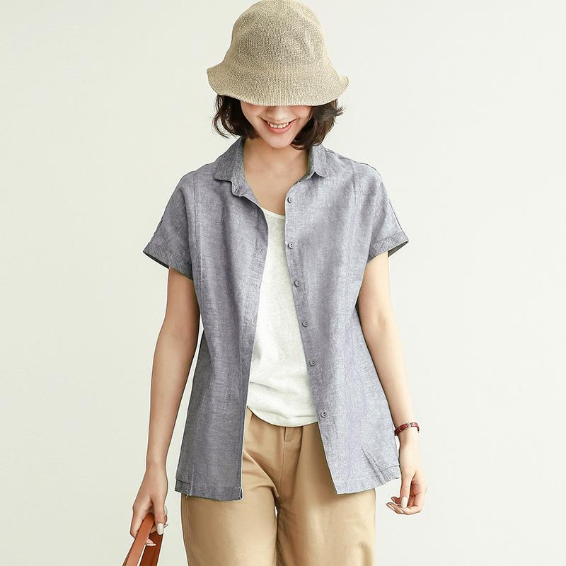 夏季薄款亚麻衬衫女士短袖上衣2020新款宽松休闲棉麻衬衣文艺寸衫