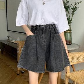 大码牛仔短裤女2020夏装新款宽松显瘦阔腿高腰胖妹妹胯大腿粗裤子