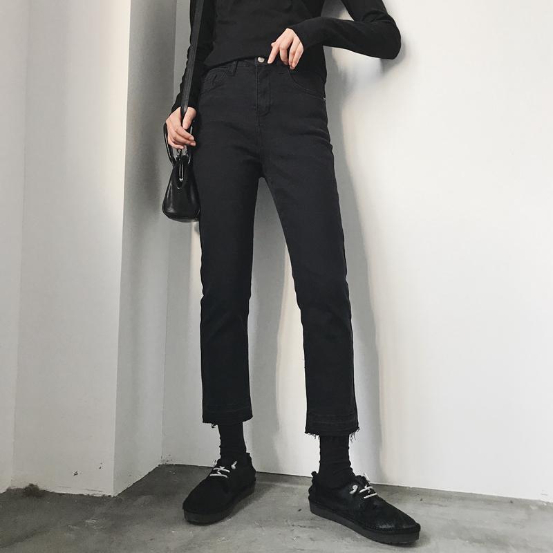 大码女装2020秋季胖妹妹mm裤子直筒宽松显瘦高腰九分黑色牛仔裤女