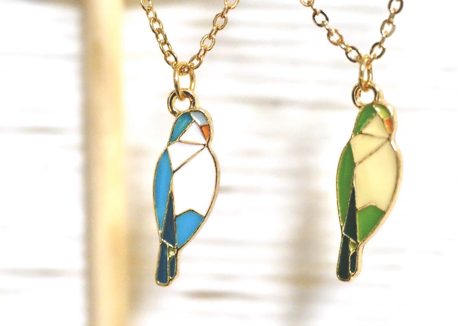 New seckill blue monk PARROT GREEN monk parrot pink parrot Xuanfeng parrot Earring Necklace optional 925