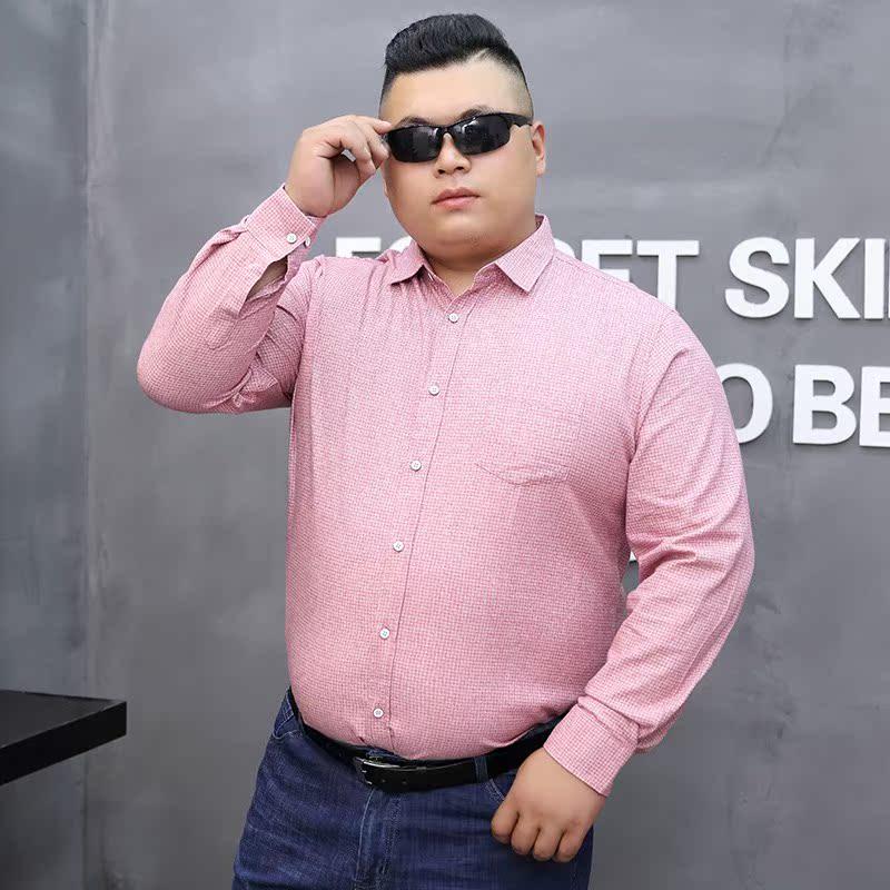 高档正品牌大码衬衫男全棉秋季新款加肥加大号胖子宽松长袖衬衣中