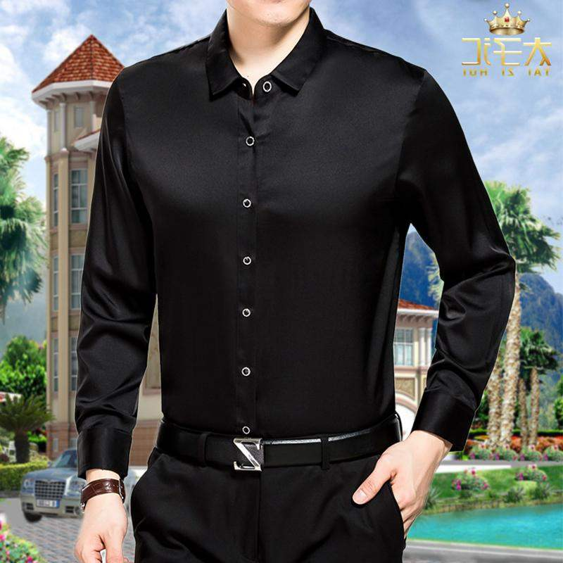 Group purchase brand high grade pure 100% silk shirt long sleeve mens all mulberry silk pure black shirt loose silk