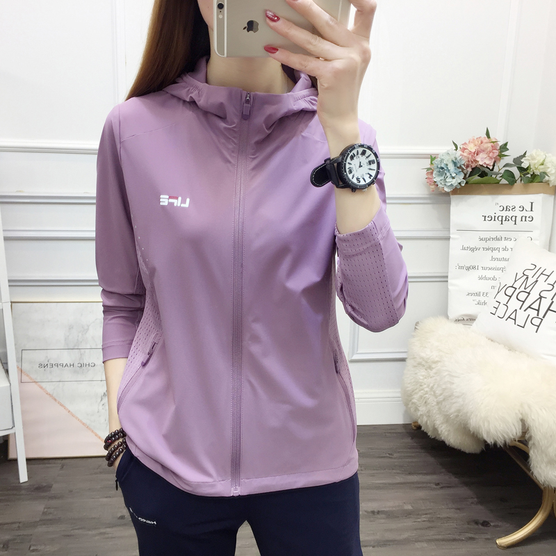 Outdoor fitness sunscreen clothes womens breathable travel sports stretch windbreaker quick dry thin mens running coat spring and summer