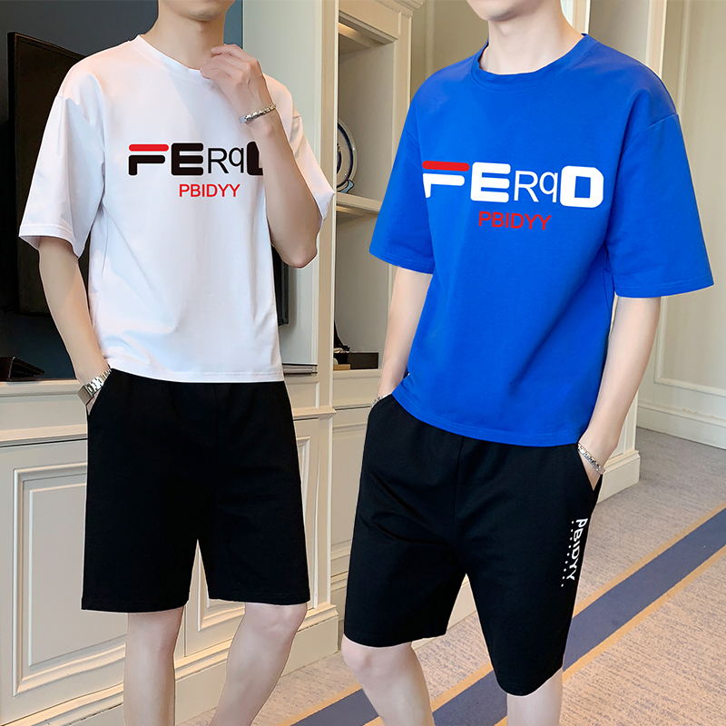 2021 summer new 12-13-14-15-16 year old boy junior high school student short-sleeved T-shirt two-piece suit