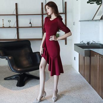 小个子晚礼服女2020新款红色连衣裙