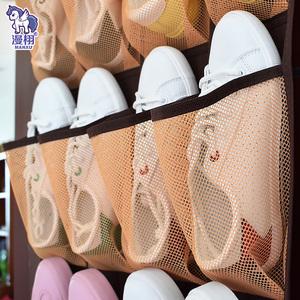 12格拖鞋收纳袋挂袋衣橱收纳袋门后墙挂袋宿舍杂物整理网格收纳袋