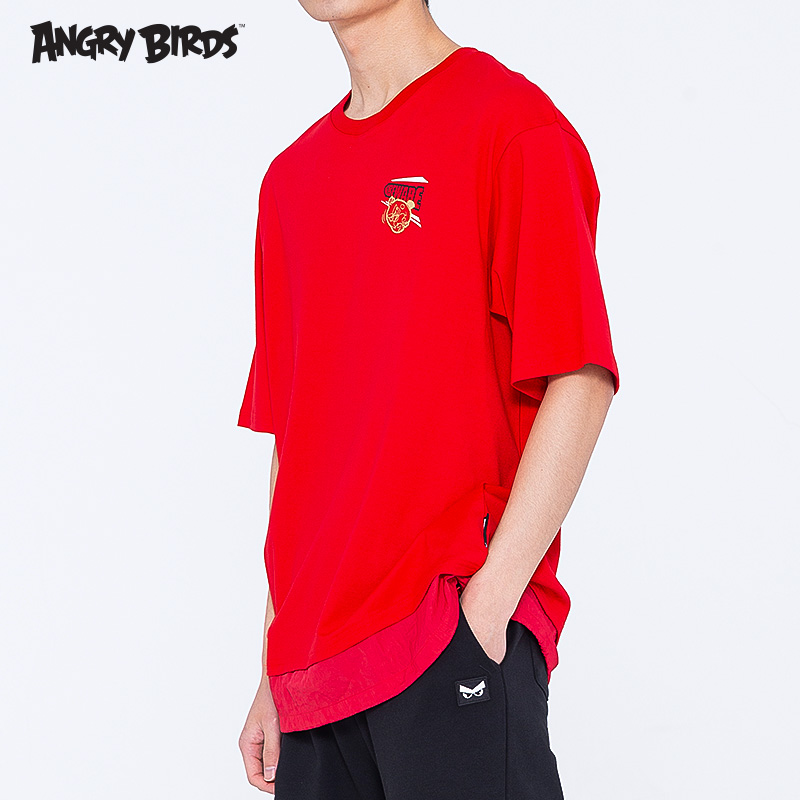 Angry birds clothes angrybirds2020 summer new mens versatile short sleeve T-shirt solid color