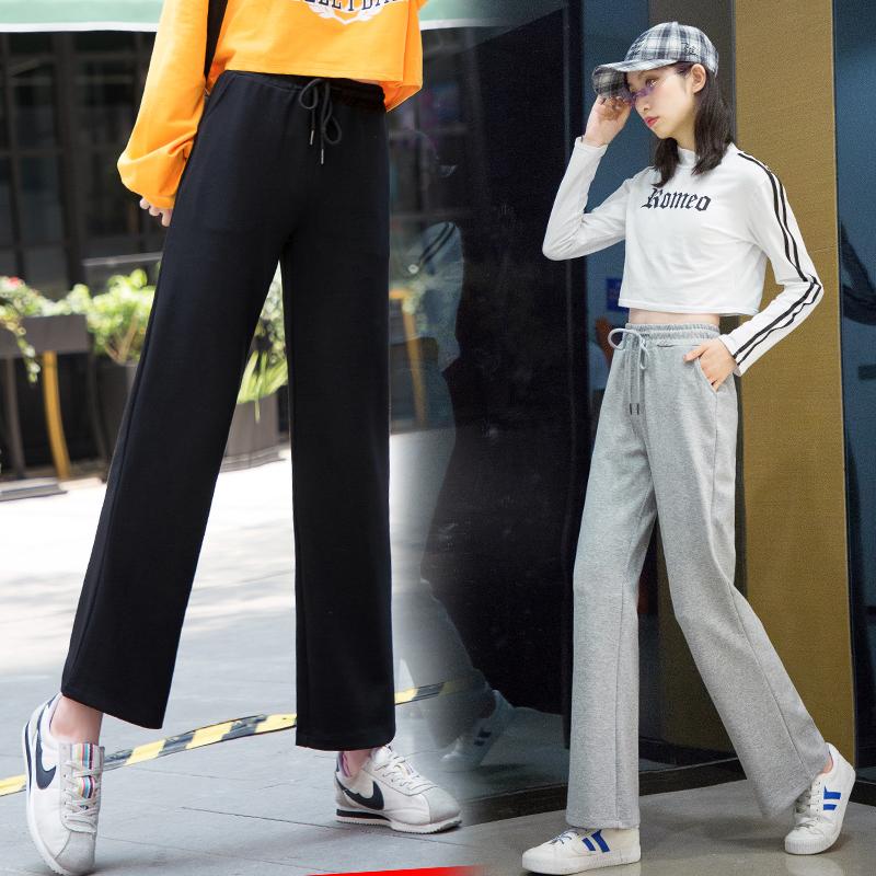 运动裤少女2019新款初中高中学生宽松休闲春季韩版薄款直筒长裤子