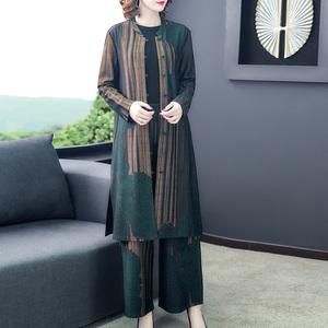 2020女装新款春妈妈套装秋冬装时尚大码洋气减龄阔腿裤两件套高贵