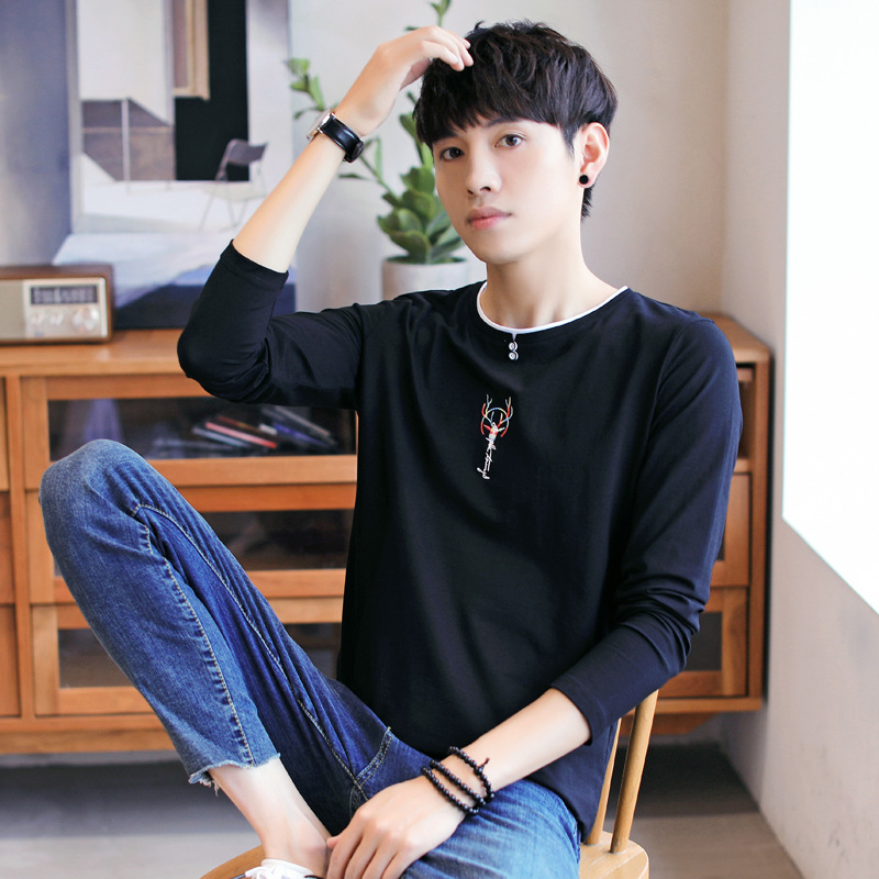 Mens long sleeve t-shirt mens round neck spring autumn new top Pullover tide brand embroidered bottomed Shirt Youth T-Shirt