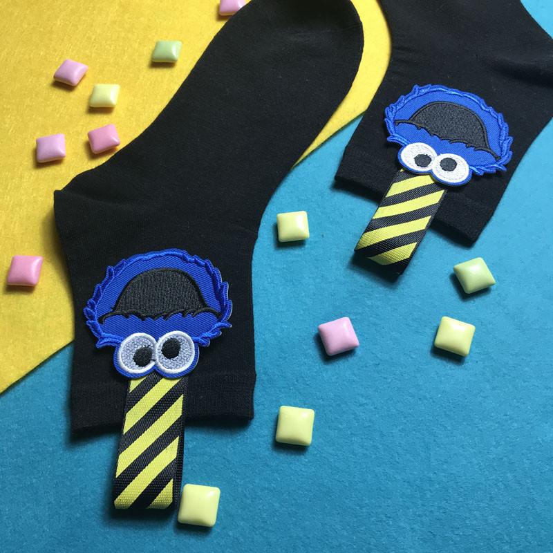 包邮陈小叔手工个性芝麻街袜卡通贴布街头全棉袜黑色运动女中筒袜