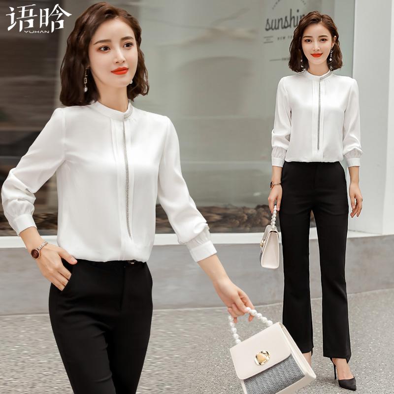 白色职业衬衫女设计感小众气质垂感流苏上衣时尚洋气长袖雪纺衬衣