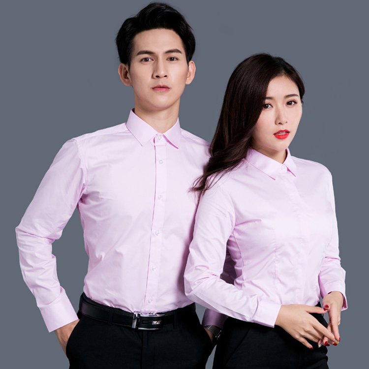 White shirt mens and womens 2019 winter wear Korean new no grain work clothes long sleeve work clothes Top Shirt