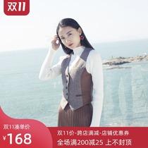 2020春秋女式西装马甲短款英伦帅气毛呢背心无袖外套复古修身马夹