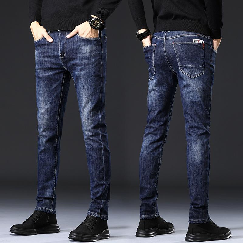 牛仔裤男春季新款修身休闲男式牛仔长裤薄款商务小脚男士牛仔裤