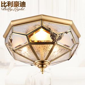 铜灯门厅灯过道灯饰全铜半吸顶灯阳台灯欧式焊锡灯具卧室灯书房灯