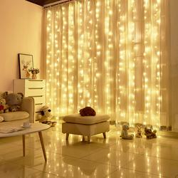 LED窗帘彩灯电池遥控瀑布花环灯串背景满天星星灯冰条灯主播婚礼