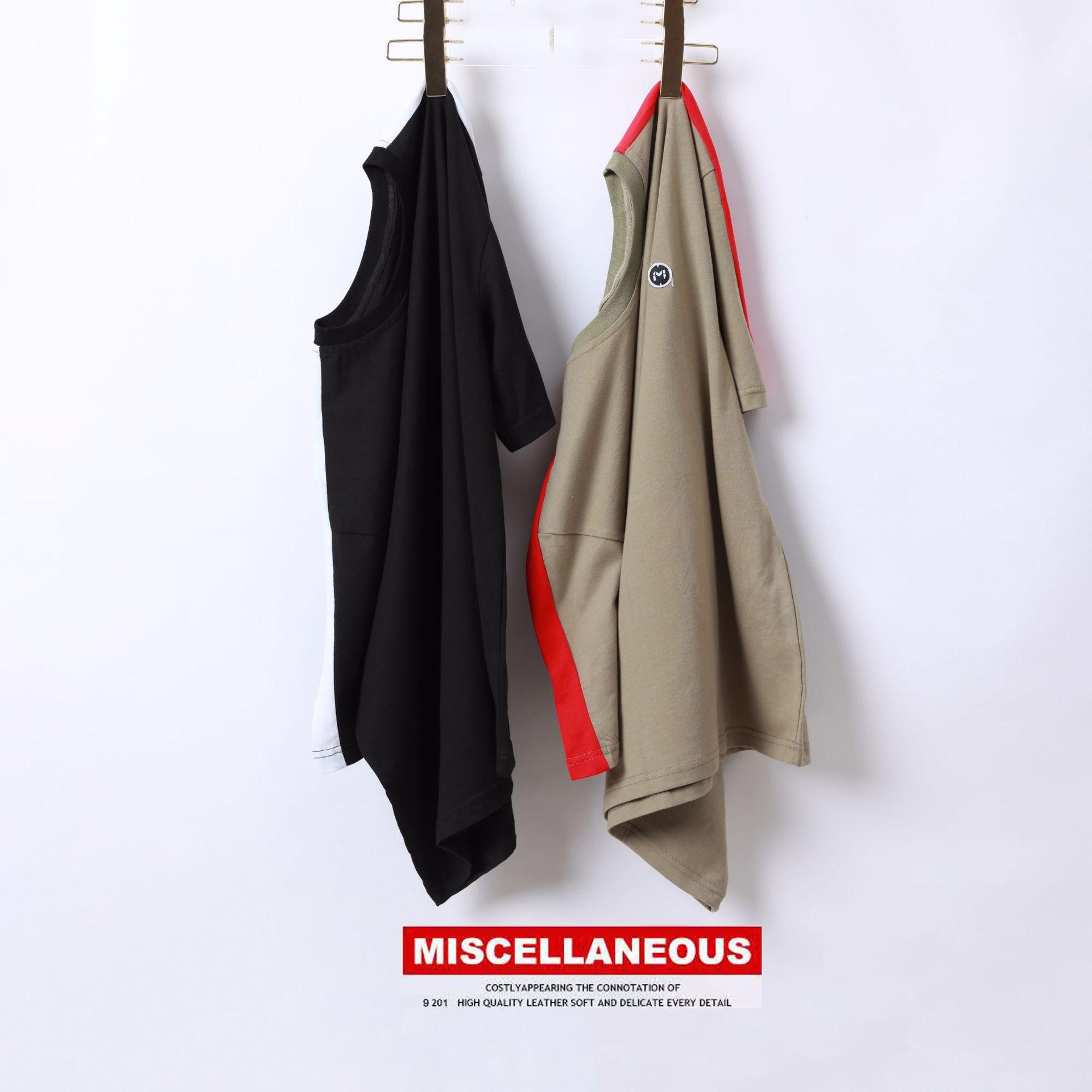 T恤新款潮牌男式短袖时尚织带拼接全棉短T春夏男式2019男装MISC