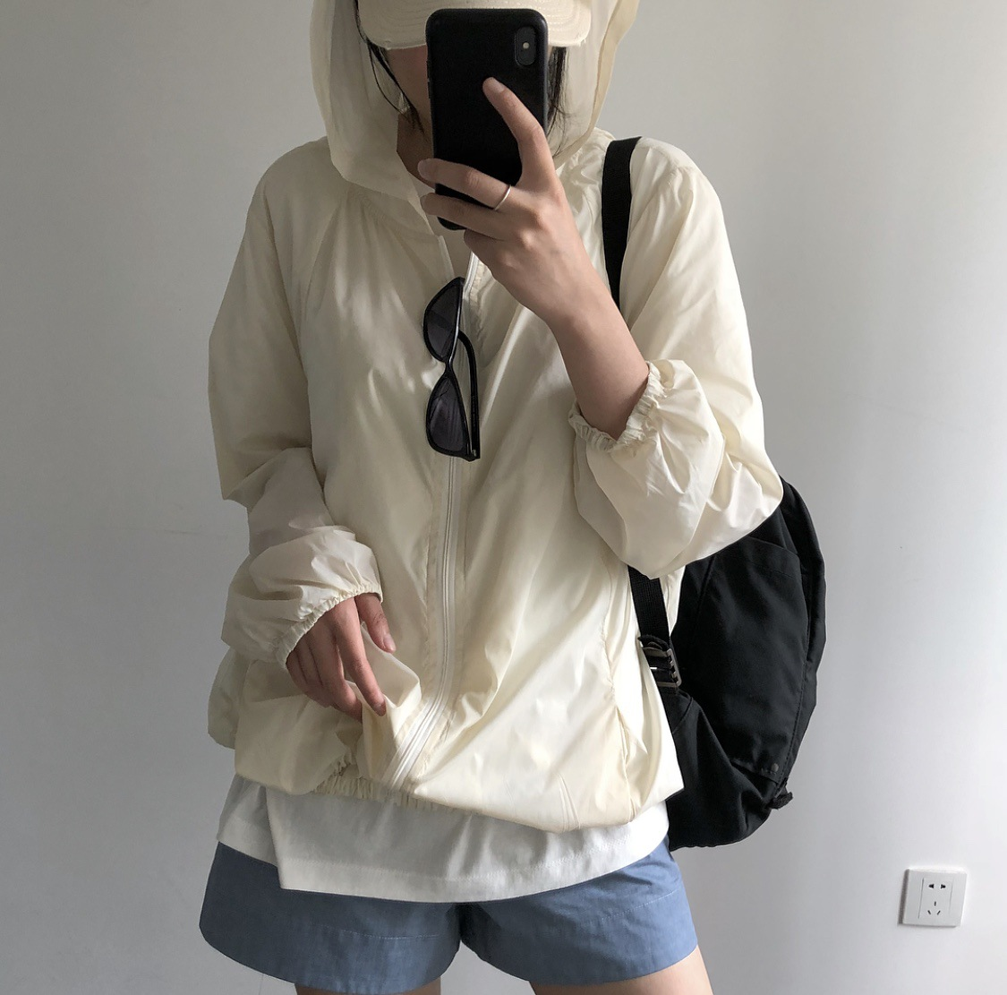 Spring and summer new Korean East Gate hooded zipper loose jacket silk slip ultra-thin long sleeve sunscreen