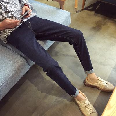 99.2%棉0.8%氨纶 蓝黑色修身男士牛仔裤子 K106/P68(不低于85)