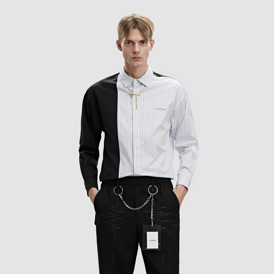 Unawares FW18 Stripe Gored Shirt 水洗标条纹拼接长袖衬衫 深蓝