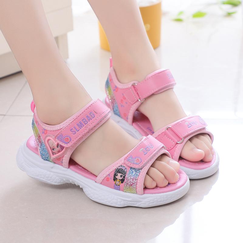女童凉鞋夏季新款小女孩鞋子时尚潮儿童公主软底防滑中大童沙滩鞋