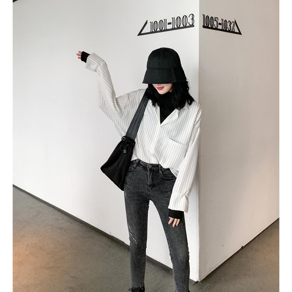 【春装新品 今日包邮抢新】2020新款韩版假2件条纹衬衫外套女衬衣