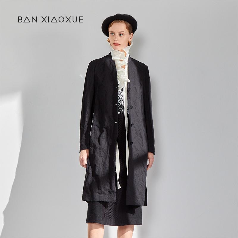 独立设计师班晓雪秋棉质黑色时尚百搭长款外套风衣大衣