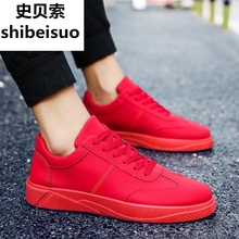 Spesso Men's Shoes Spring Student Trend Sports Shoes Red Shoes Men's Leather Tide Shoes Korean Leisure Shoes Running