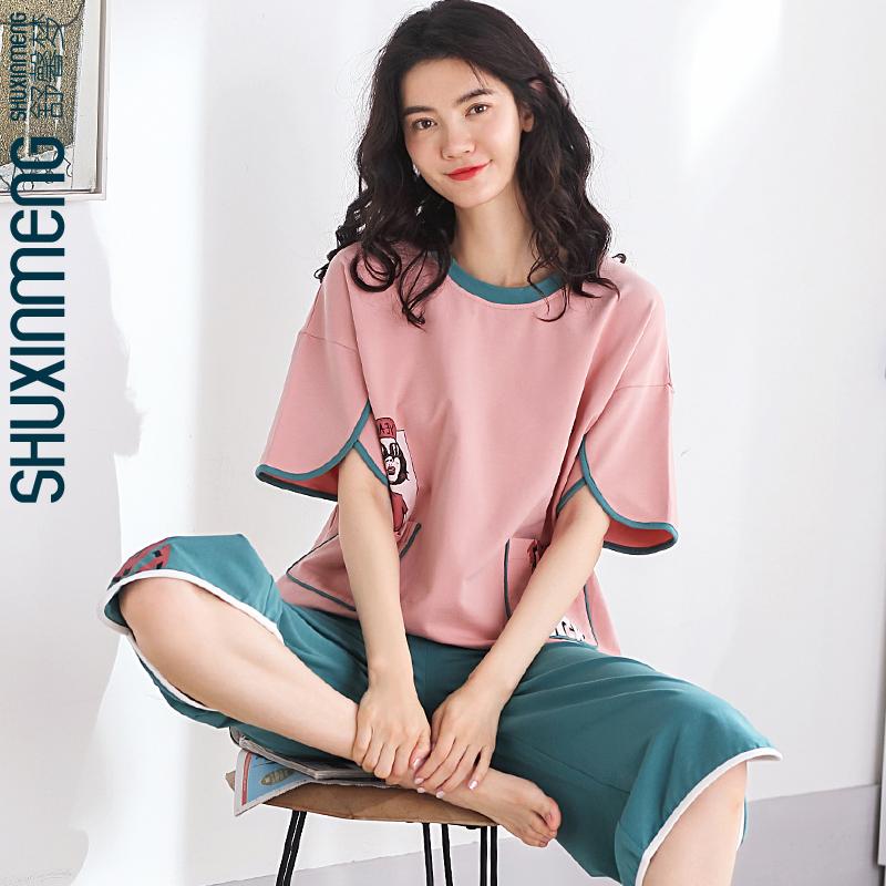 2021年新款夏季纯棉女士睡衣短袖春夏家居服女可出门薄款两件套装